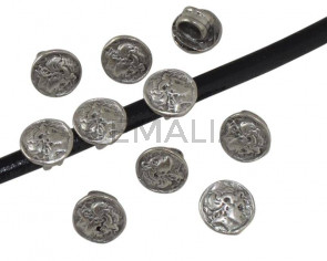 Entrepieza Moneda Zamak. 10mm. Plata vieja. Int.5mm