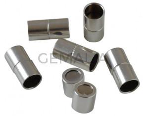 Cierre tubo Imán latón. 24x12mm. Plateado. Int.10mm