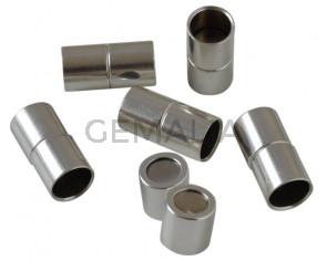 Cierre magnetico de tubo de latón 24x12mm. Plateado. Int.10mm. Precio Especial