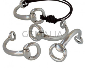 Media pulsera Zamak. 60mm. Plateado. Int.17x9mm/9x4mm