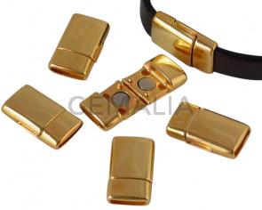 Cierre magnetico de Zamak plano. 22x12,5mm. Dorado. Int.10x2mm. Precio Especial