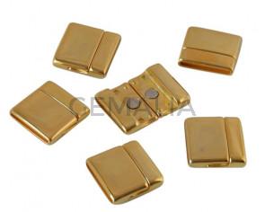 Cierre magnetico de Zamak plano. 22x23mm. Dorado. Int.20x2mm. Precio Especial