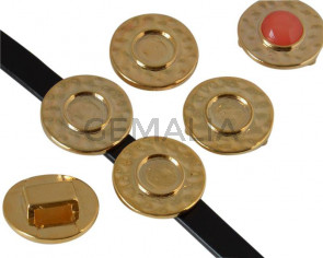 Entrepieza Moneda Zamak. 26mm. Sin piedra. Int.piedra 12mm. Plateado. Int.10x2,5mm