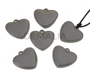 Acero inoxidable 304. Colgante. Corazon. 21x19x3mm.Plateado. Int.1,6mm