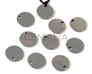 Acero inoxidable 304. Colgante. Moneda. 10x10x1mm. Plateado. Int.0,8mm