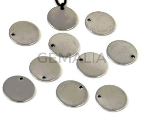 Acero inoxidable 304. Colgante. Moneda. 13x13x1mm. Plateado. Int.1,2mm