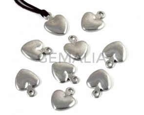 Acero inoxidable 304. Colgante.Corazon.8,5x12x2,5mm.Plateado.Int.1,8mm