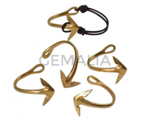 Media pulsera Zamak Ancla. 54x4mm. Dorado. Int.4,8x8mm