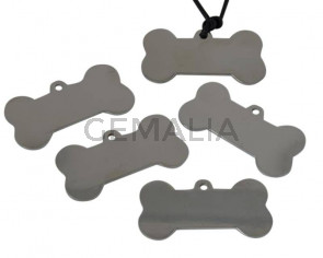 Acero inoxidable 304. Colgante. Hueso. 40x22x1mm. Plateado. Int.2,5mm
