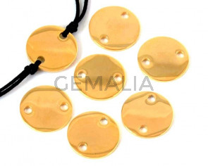 Acero inoxidable 304. Conector. Moneda. 13x13x1mm. Dorado. Int.2mm