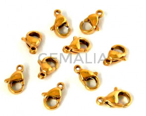 Acero inoxidable 316. Mosqueton. 9x6x3mm. Dorado. Int.1,5mm