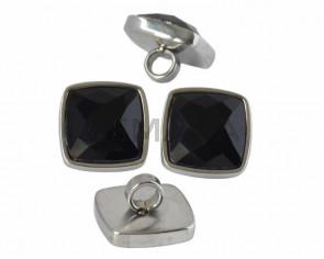 Entrepieza Acero inoxidable 304/Cristal. Cuadrado. 16x16mm. Plateado-negro. Int.4mm