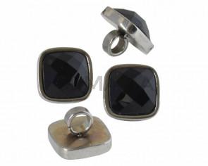 Entrepieza Acero inoxidable 304/Cristal. Cuadrado. 13,5x13,5mm. Plateado-negro. Int.4mm