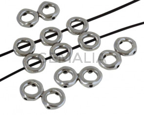 Zamak. Doble arandela. 37x17mm. Plateado. Int.2mm/8,5mm
