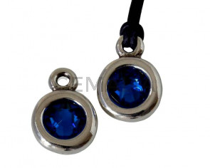 Colgante Zamak/SWAROVSKI. Moneda 17x11mm. Plateado-Capri Blue. Int.2mm