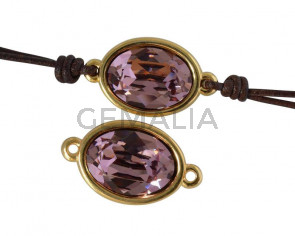 Conector de SWAROVSKI y Zamak. Oval 22x13mm. Dorado-AntiquePink. Int.2mm