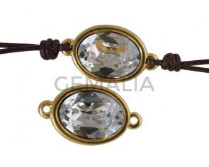 Conector de SWAROVSKI y Zamak. Oval 22x13mm. Dorado-Crystal. Int.2mm