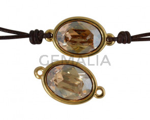 Conector de SWAROVSKI y Zamak. Oval 22x13mm. Dorado-Golden Shadow. Int.2mm