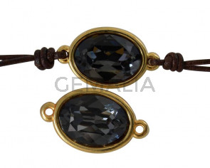 Conector de SWAROVSKI y Zamak. Oval 22x13mm. Dorado-Silver Night. Int.2mm