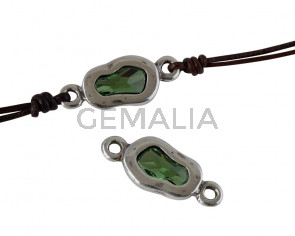 Conector de SWAROVSKI y Zamak. Irregular 25x11mm. Plateado-Erinite. Int.3mm
