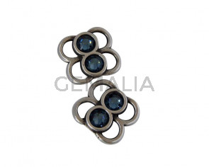 Conector de SWAROVSKI y Zamak. 16x14mm. Plateado-Denim Blue. Int.4x3mm