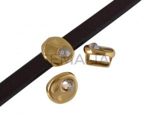 Entrepieza de SWAROVSKI y Zamak moneda 8,3x8x8mm. Dorado-Golden Shadow. Int.5x2,5mm
