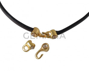 Cierre garfio de SWAROVSKI y Zamak 11x4,5mm con terminal moneda. Dorado-Golden Shadow. Int.3x2mm