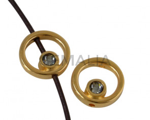 Aro de SWAROVSKI y Zamak 12,2x12,3mm. Dorado-Black Diamond. Int.1,5mm
