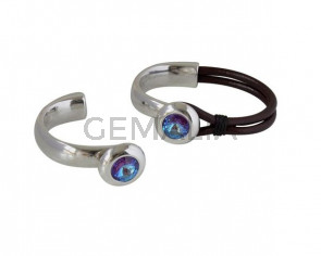Media pulsera de SWAROVSKI y Zamak. 20mm. Plateado-Burgundy Delite. Int.10x5mm