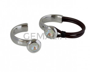 Media pulsera de SWAROVSKI y Zamak. 20mm. Plateado-Light Grey Delite. Int.10x5mm