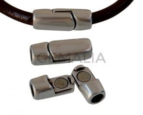 Cierre magnetico de Zamak tubo. 24x9mm. Plateado. Int.5mm. Precio Especial