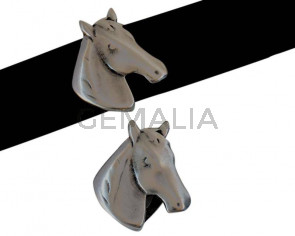 Caballo Zamak entrepieza. 26x27mm. Plateado. Int.20x2,5mm