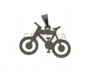 Acero inoxidable 304. Colgante bicicleta. 27x17x15mm. Plateado. Int.3x6mm