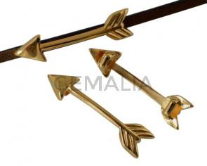 Entrepieza de Zamak. Flecha 30x7,3mm. Dorado. Int.3x2mm