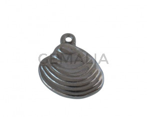 Colgante concha de Acero inoxidable 304. 13x14x3mm. Plateado. Int.1,5mm