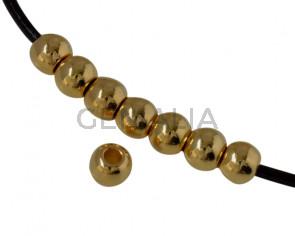 Bola de Laton 4x3,2mm. Dorado. Int.1,4mm