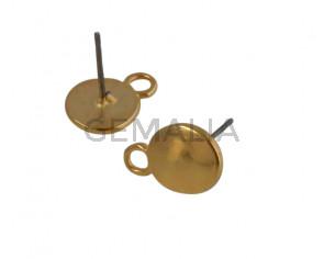 Accesorio pendiente de Zamak moneda 12x8,7mm. Dorado. Int.2,2mm