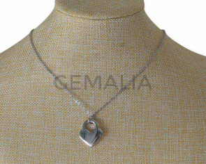 Collar de Acero inoxidable 304 con cadena. Corazon 21,5x25mm. Plateado.19,5 Inch