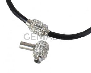 Cierre magnetico de Acero inoxidable 304/rhinestone. Tubo 17x9mm. Plateado-Cristal. Int.4,8mm