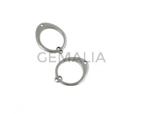 Colgante de Zamak 18,5x24mm. Plateado. Int.1mm