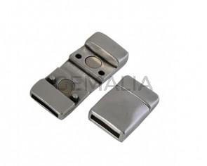 Cierre magnetico plano de Zamak 19,3x13,5mm. Plateado. Int.10x2mm. Precio Especial