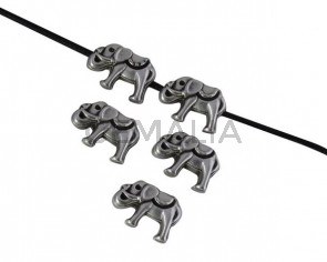 Elefante de Zamak. Entrepieza 14x10mm. Plateado. Int.1,5mm