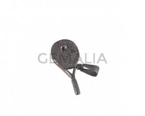 Colgante raqueta badminton de Acero inoxidable 304. 35x16x5mm. Plateado. Int.4x9mm