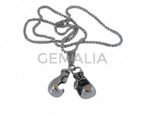 60c902041383 Collar guantes boxeo de Acero inoxidable 304. 28x32mm. Plateado. 60cm largo.