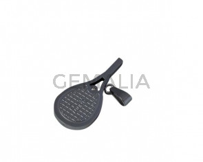 Colgante raqueta tenis de Acero inoxidable 304 con rhinestone. Int.5x3mm