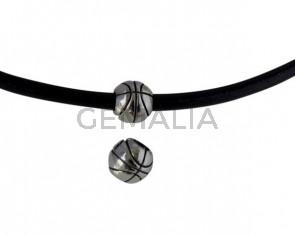Pandora de balon de baloncesto de Acero inoxidable 304. 10,5x9,5mm. Plateado. Int.5mm
