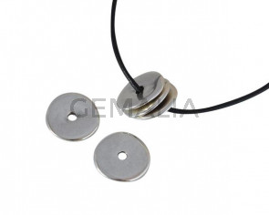 Entrepieza disco de Zamak  22x22mm. Plateado. Int.3,5mm