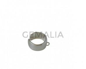 Anillo de Zamak con anilla 21x12mm. Plateado. Int.2,2mm