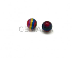 Acrilico.Bola.12mm.Raya multicolor.Int.2mm