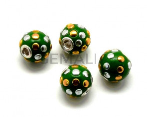 Resina/Metal. Bola. 13mm. Verde. Int.3mm aprox.